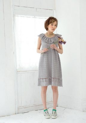 Beauty Silk Cotton Ruffle Dress by Pierrot (Gosyo Co., Ltd